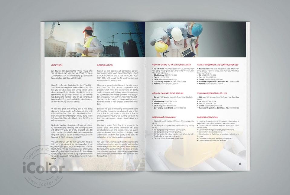 Thiết kế profile Công ty Xây dựng Vạn Cát