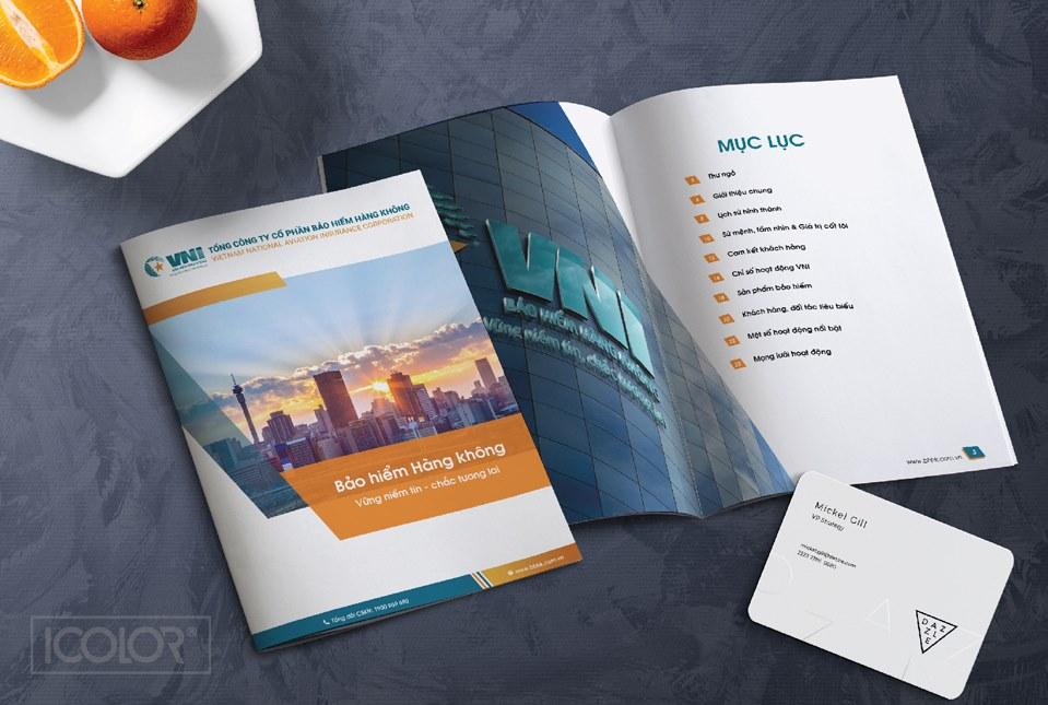 Thiết kế profile công ty Bảo hiểm hàng không VNI design by ICOLOR