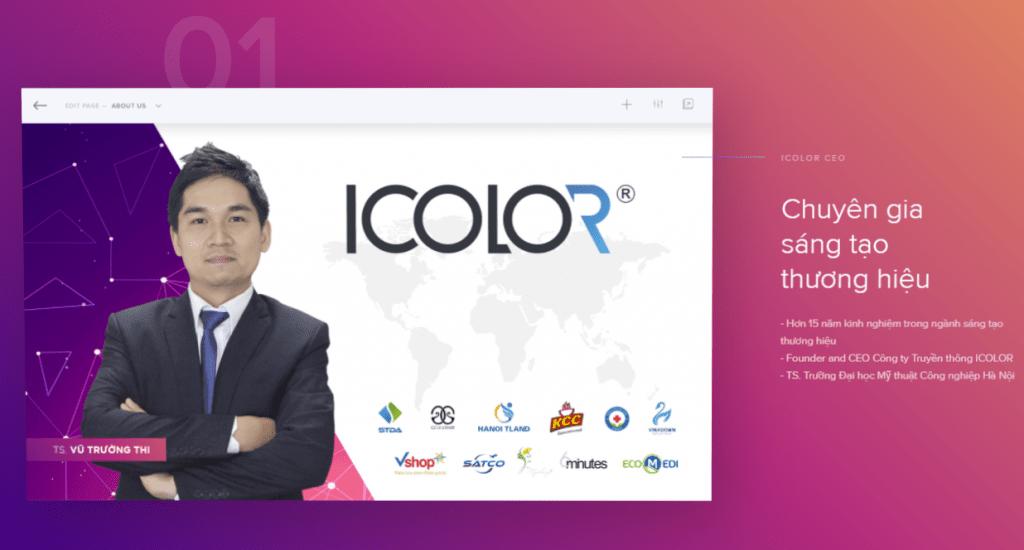 Chuyên gia sáng tạo thương hiệu - Hơn 15 năm kinh nghiệm trong ngành sáng tạo thương hiệu - Founder and CEO Công ty Truyền thông ICOLOR - TS. Trường Đại học Mỹ thuật Công nghiệp Hà Nội