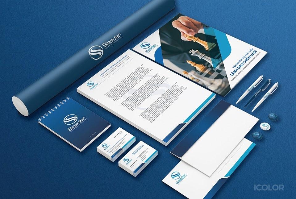 Bộ nhận diện thương hiệu Sleader design by ICOLOR